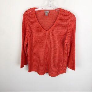 Chicos Open Knit Sweater V Neck Orange 3/4 Sleeve